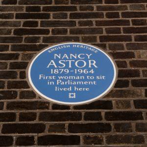 Plaque outside Nancy Astors House